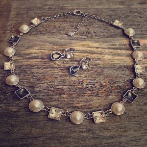 Monet pearl and gray gemstone necklace.